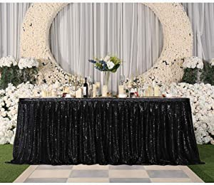 Eternal Beauty 9ft Sequin Table Skirt for Cake Table, Table Skirting Decoration For Party Wedding Birthday Party(L9(ft) H 30in, Black)