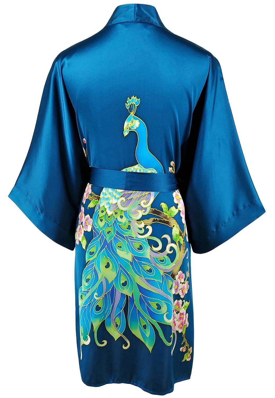 Amazon.com: Ledamon bata corta 100% seda kimono para mujer ...