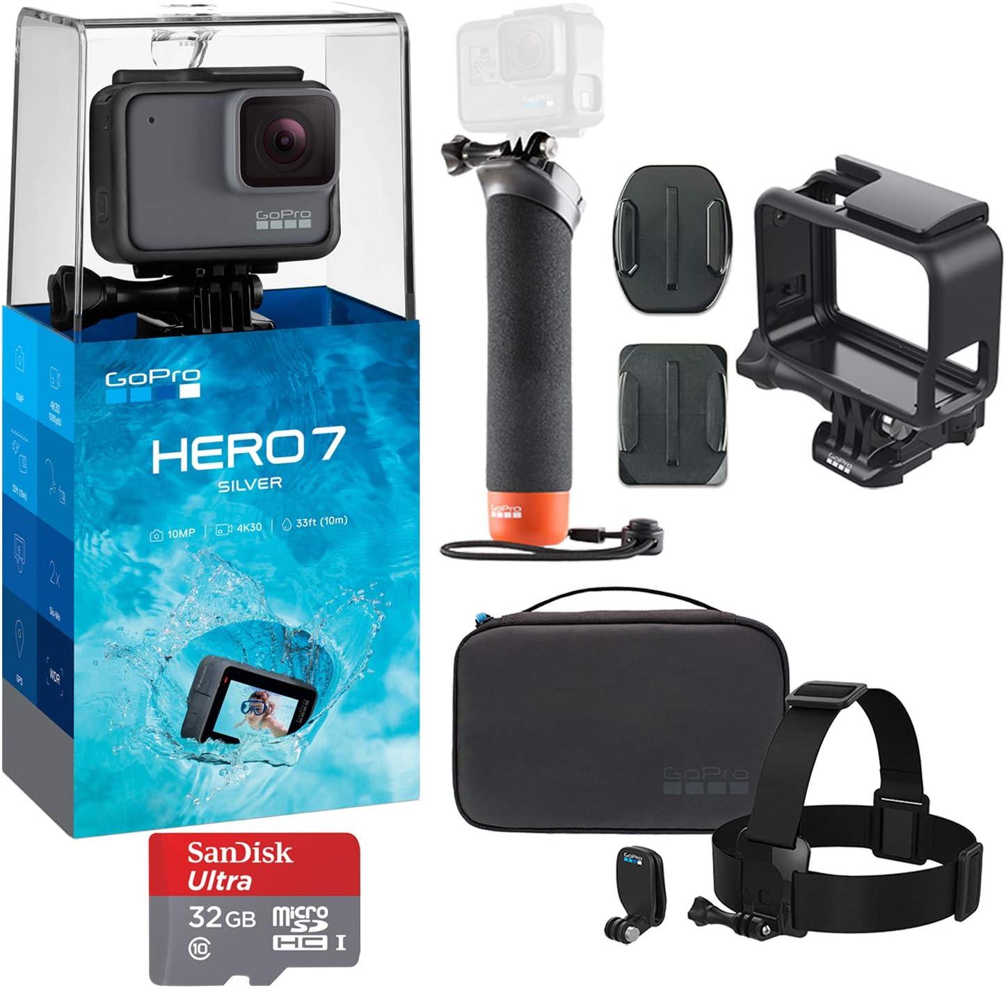 Amazon Com Gopro Hero 7 Silver Action Camera With Gopro Adventure Kit Essential Bundle Camera Photo