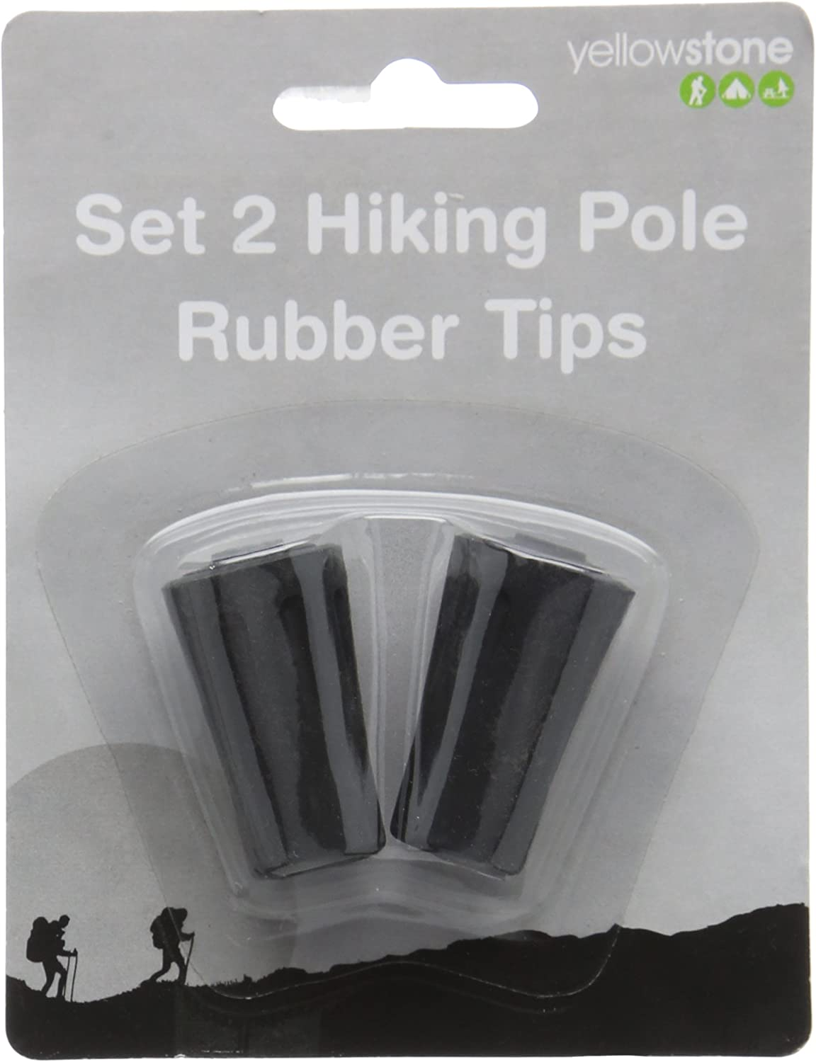 Pack of 2 Yellowstone Hiking Pole Rubber Tip Multi-Colour