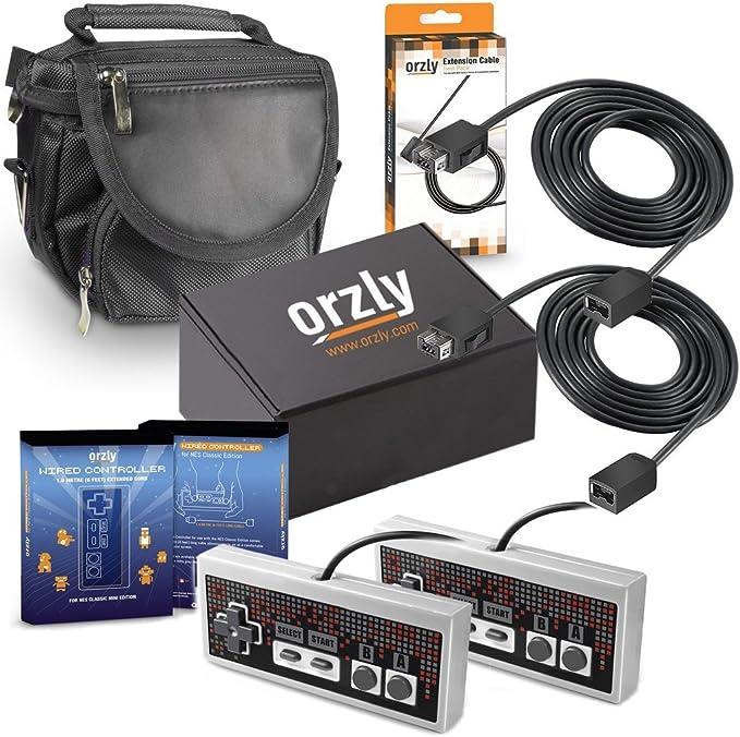 Orzly® Paquete de Accesorios para la Nintendo NES Classic (NES Mini) – Bundle Pack Que Incluye 2 GamePads, 2 Cables Extensibles para Mandos y 1 Bolsa de Viaje (Consola No Incluida): Amazon.es: Electrónica