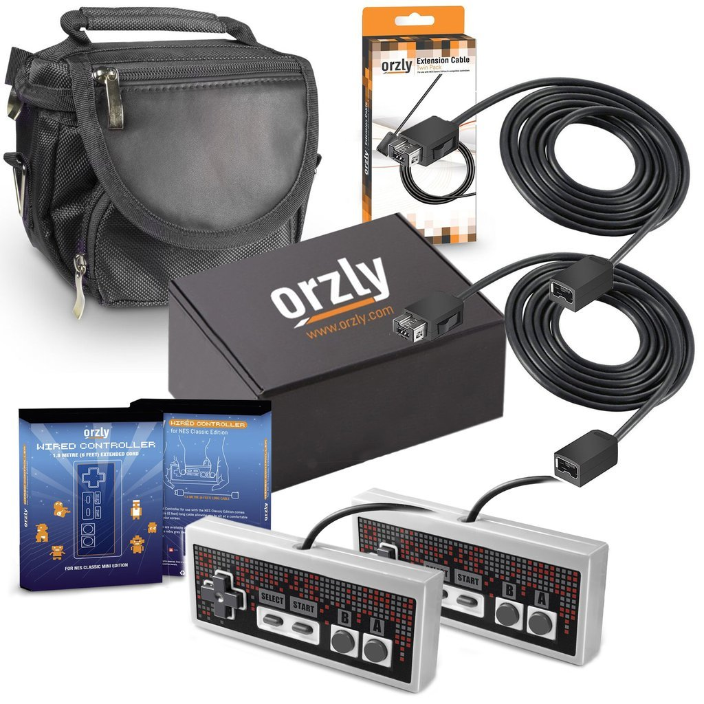 Orzly Essentials Accessory Pack for Nintendo NES Classic (NES Mini) - Accessories Bundle Includes 2x Control Pads, 2x Cable Extension Leads for Controllers and 1x Travel Bag (Console Not Included) by Orzly