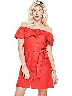 GUESS Factory Womens Katelynn Off-The-Shoulder Ruffle Waist Tie Linen Dress