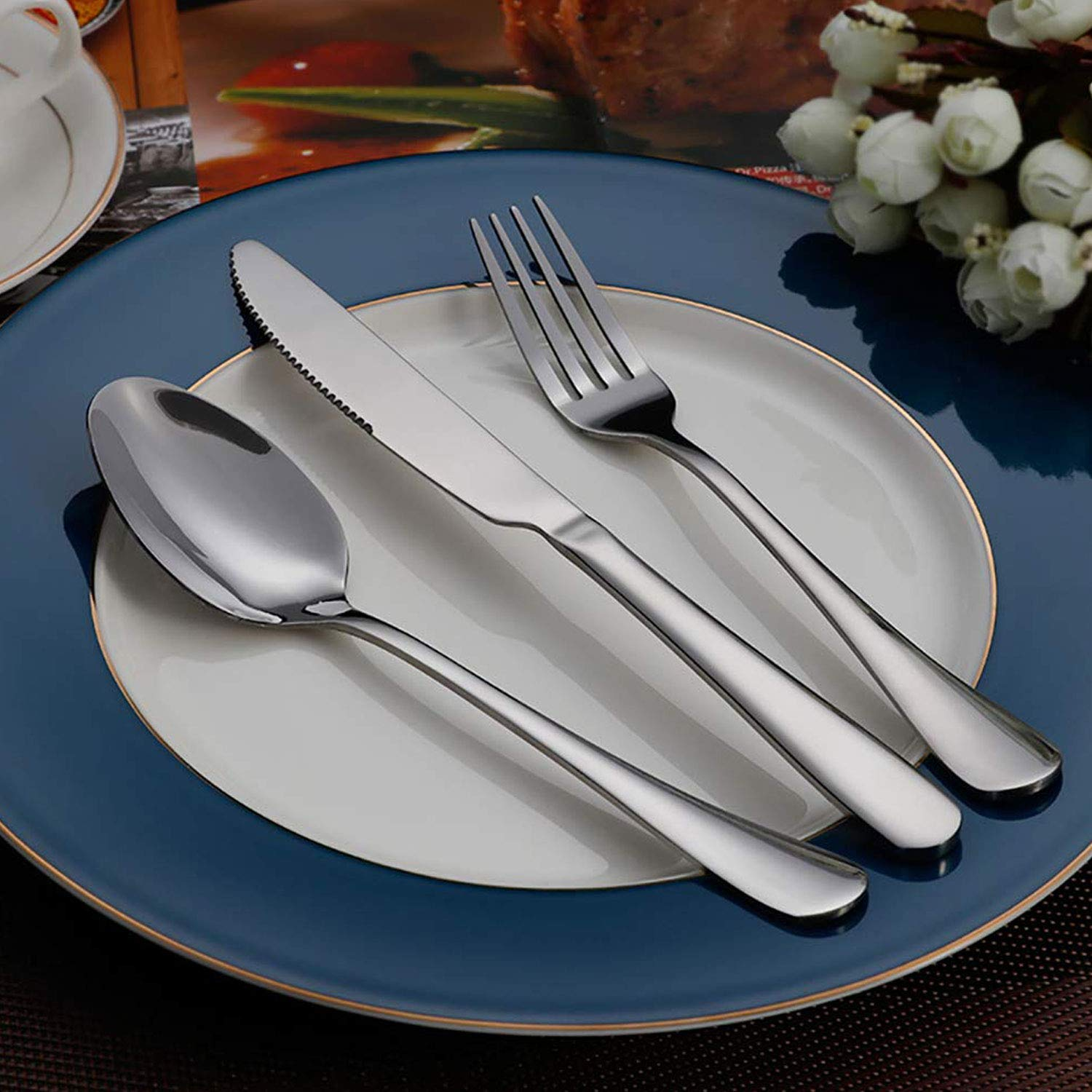 TaNaT Flatware Set Stainless Steel Silverware Cutlery Set Hostess Serving Set Include Knife/Fork/Spoon Polished,Solid, Durable for Parties, Weddings, Dinners, Events,24 Piece