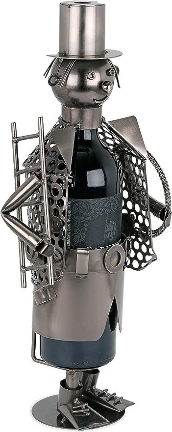 Supporto Metallo Oggetto Decorativo Personaggi con Biglietto d Auguri per Bottiglie di Vino Regalo Brubaker Bottiglia di Vino spazzacamino