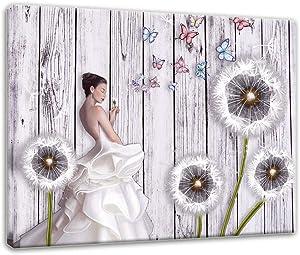 Artsbay Dandelion Canvas Wall Art for Girl Living Room Bedroom Bathroom Decoration Elegant Girl with White Flower Dandelion Butterfly Fluttering in Wind Vintage Wood Wall Home Decor Pictures Framed