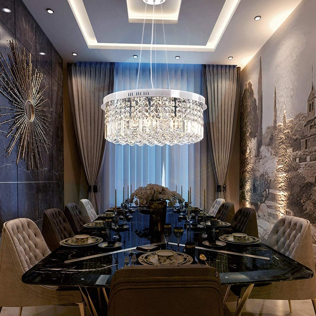 SILJOY Drum Crystal Chandelier Lighting Modern Raindrop Pendant Ceiling Lights for Dining Room Kitchen Island D19.7 x H8.3