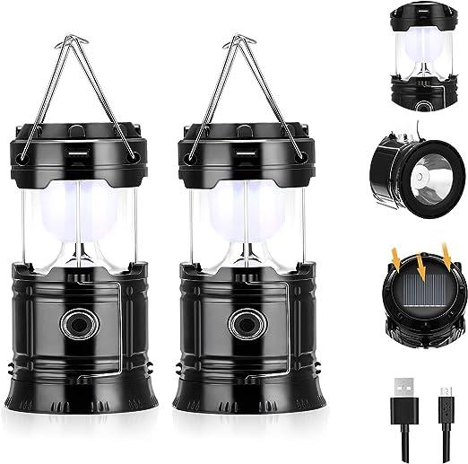 Fulighture - Linterna solar para camping (2 unidades)