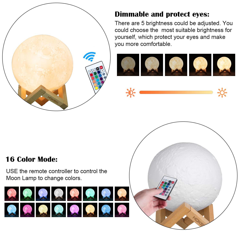 HOKEKI Lampe Lune 3D 16 Couleurs T/él/écommande Tactile USB Rechargeable Veilleuse avec Support en Bois lampe de d/écoration pour No/ël Tout Festival meilleurs cadeaux Kid chambre d/écor lumi/ères