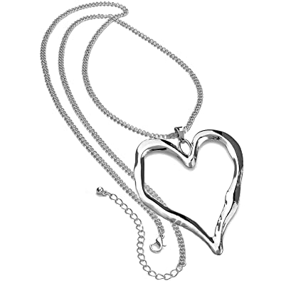 Lagenlook silver plated extra large heart pendant fashion jewellery lagenlook silver plated extra large heart pendant fashion jewellery long necklace mozeypictures