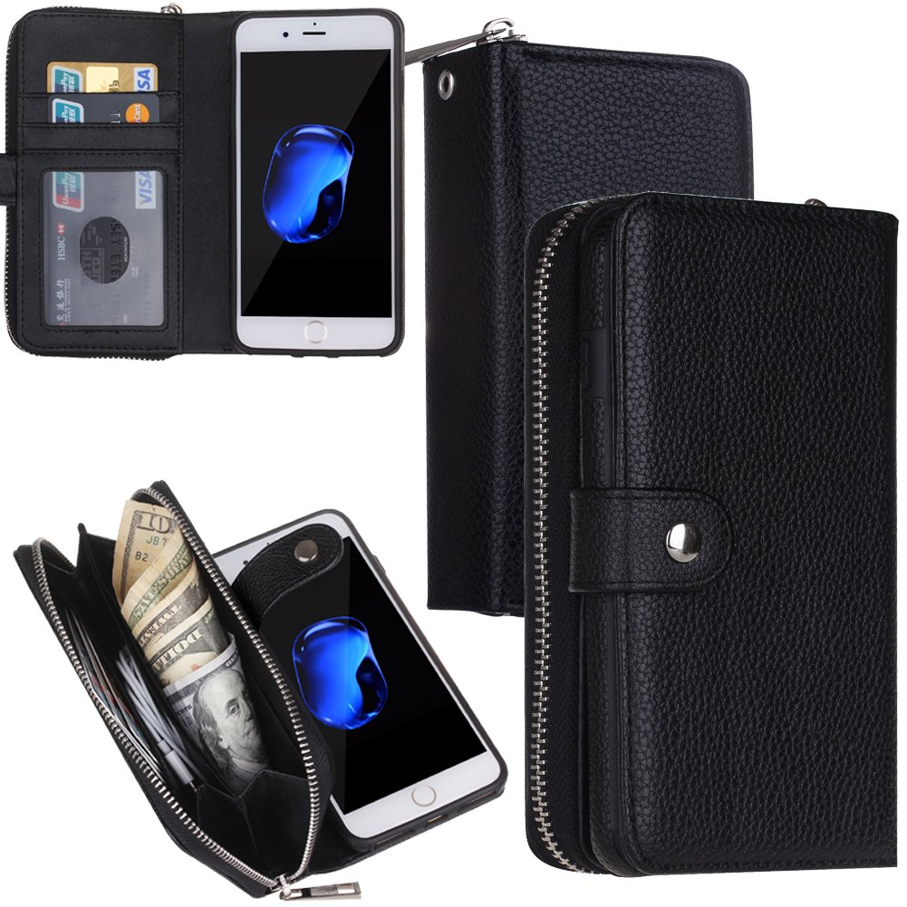 Eloiro iPhone 7 / iPhone 8 Zipper Wallet Carrying Case, PU Leather Button Lock Closure Shell Detachable Folio Flip Back Cover Protective Soft Skin with Cash and Card Slots for iPhone7/8 Black