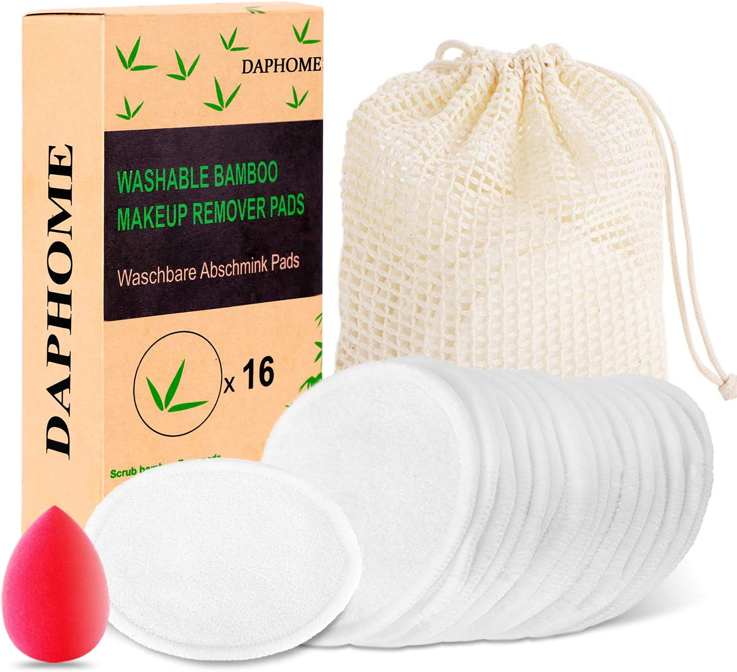 10 Pcs WUYANSE Coton Bio Bambou Coton Rechargeable Tampons D/émaquillants R/éutilisables Microfibre Gants Nettoyants Sachet de Blanchisserie Bio Sac