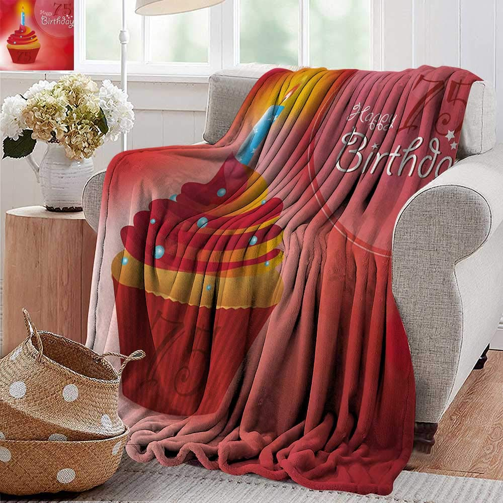 XavieraDoherty Swaddle Blanket,75th Birthday,Burning Starry Candle on a Creamy Delicious Cupcake Intimate Party,Red Orange and Blue,Lightweight Extra Soft Skin Fabric,Not Allergic 70''x90'' by XavieraDoherty