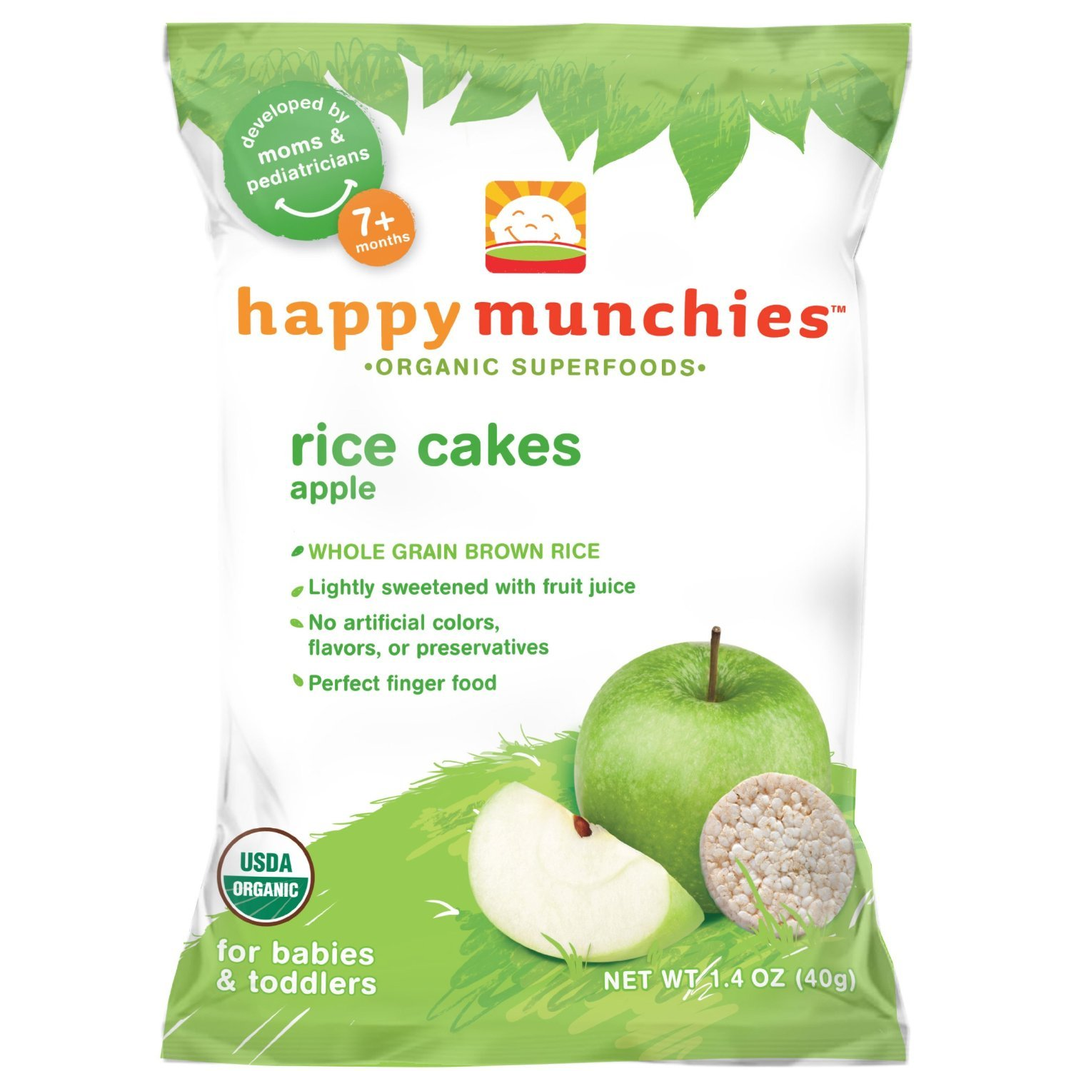 Happy Munchies Organic Apple Rice Cakes - 1.4 Oz, Pack of 8