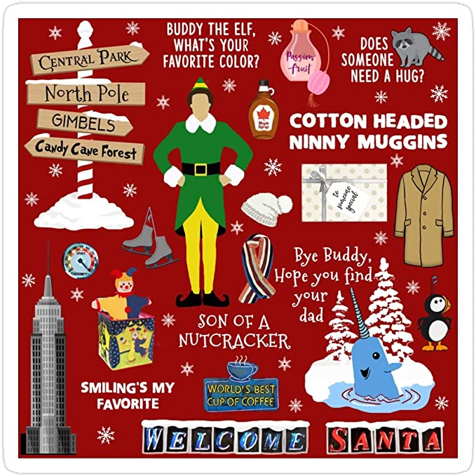 Amazon Com Jess Sha Store 3 Pcs Stickers Buddy The Elf Collage Red Background Elf Sticker For Laptop Phone Cars Vinyl Funny Stickers Decal For Laptops Guitar Fridge Kitchen Dining