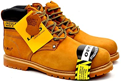 da297cdf8a5 Labo Brand Men's Black and TAN Genuine Leather Steel Toe Shoe Work Boots(EW)