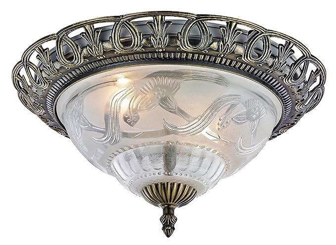 Plafoniera Ottone Vetro : Plafoniera classica e in ottone anticato vetro da happy