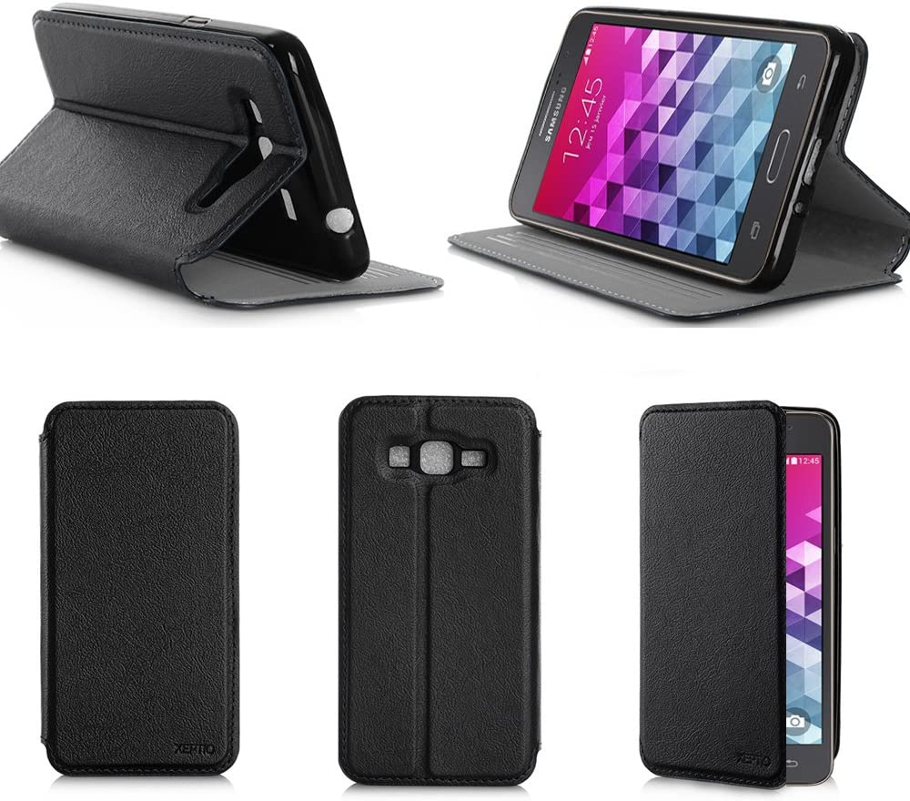 Etui luxe Samsung Galaxy Grand Prime 4G / Grand Prime VE Value Edition noir Ultra Slim Cuir Style avec stand - Housse coque de protection Samsung ...