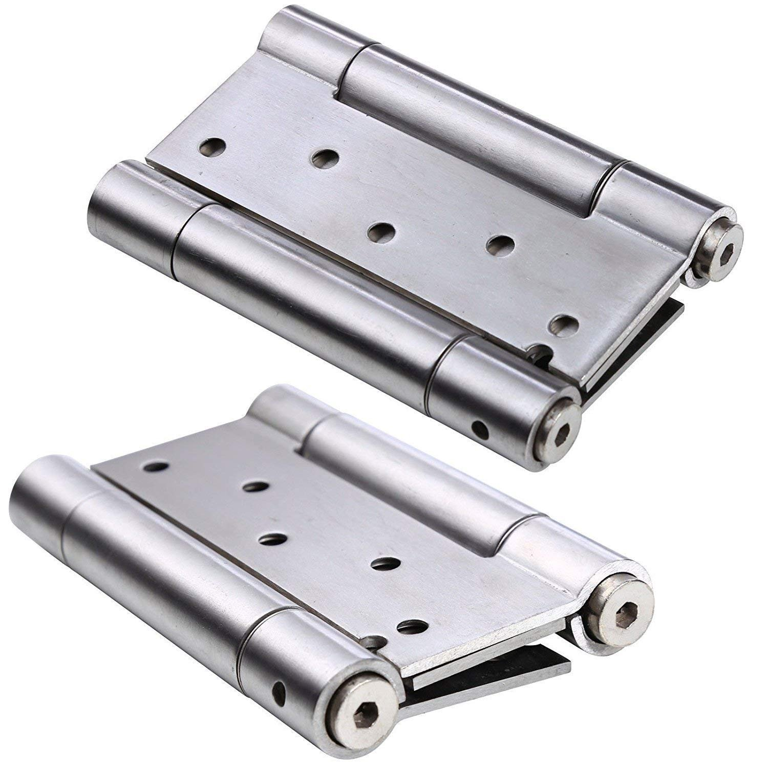 Ranbo 304 stainless steel ball bearing heavy duty Double Action spring loaded door swing gate hinge for saloon Western Bar Pub swinging Café Doors(Pack of 2) thickness:3 mm (3 inch)