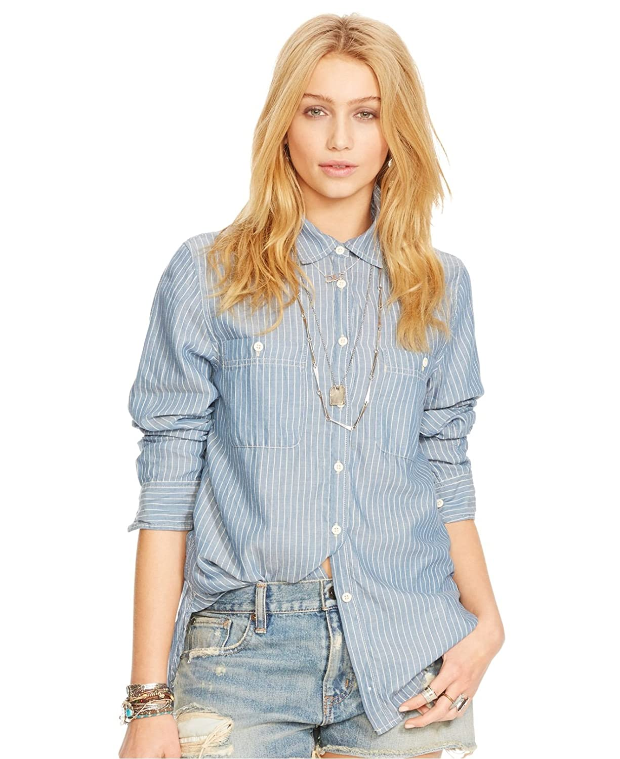 Denim & Supply Ralph Lauren Women's Striped Utility Shirt Blue Size Medium