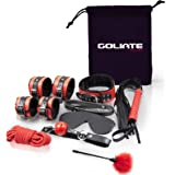 GOLIATE BDSM Complete Set Couple beginner and confirmed soft and hard, leather soft touch - 8 pieces: 2 pairs handcuffs, slave collar leash, mouth ball gagging, whip, mask, rope, duster