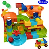 COUOMOXA Marble Run Building Blocks Classic Big Blocks STEM Toy Bricks Set Kids Race Track Compatible with All Major Brands 106 PCS Various Track Models for Boys Girls Aged 3,4,5,6,8