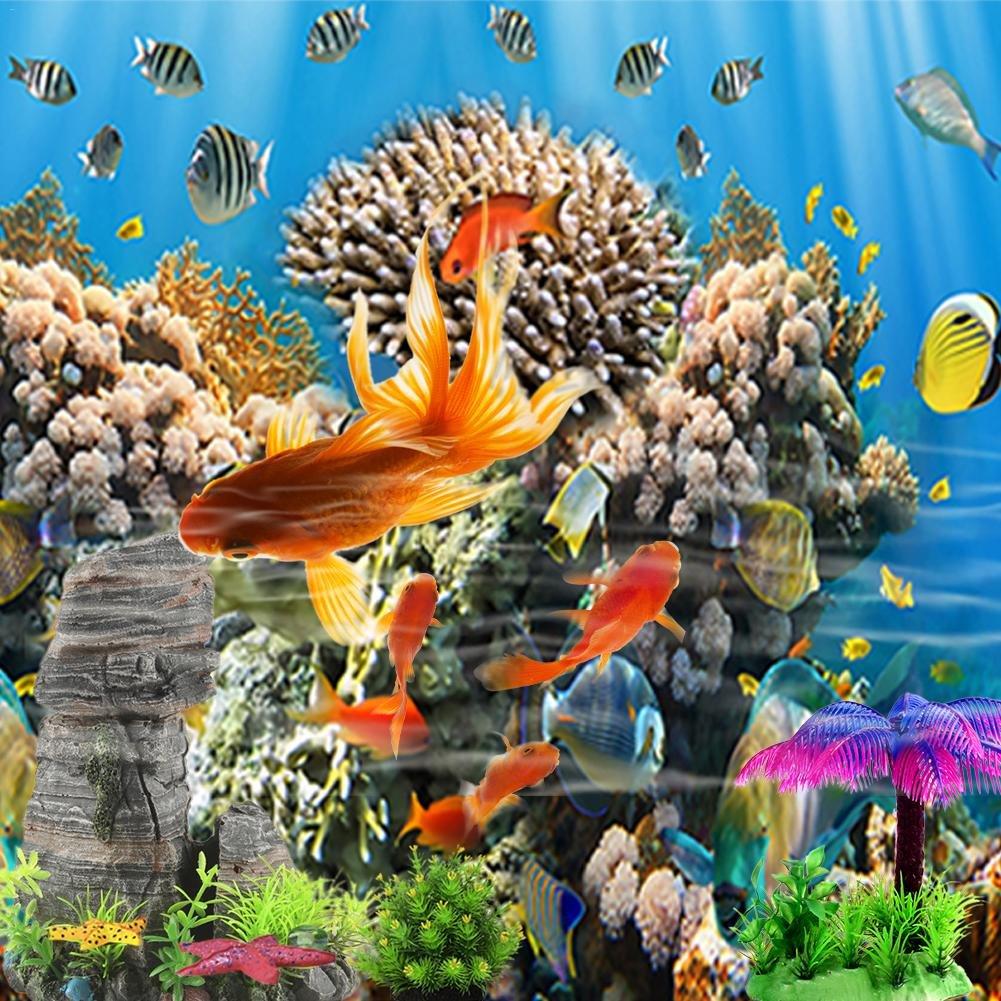 Hifuture Póster de Acuario con Fondo de Acuario diseño de Peces, de Coral Marino, impresión Digital, Impermeable, PVC Grueso, no se Arruga fácilmente, ...