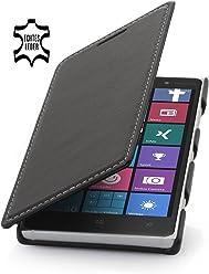 StilGut® Book Type Case, custodia in vera pelle a libro per Nokia Lumia 830, nero nappa
