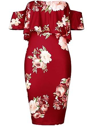 3971f8b317329 Creti Sexy Women Floral Off Shoulder Ruffles Plain Stretch Bodycon Midi  Dress: Amazon.co.uk: Clothing