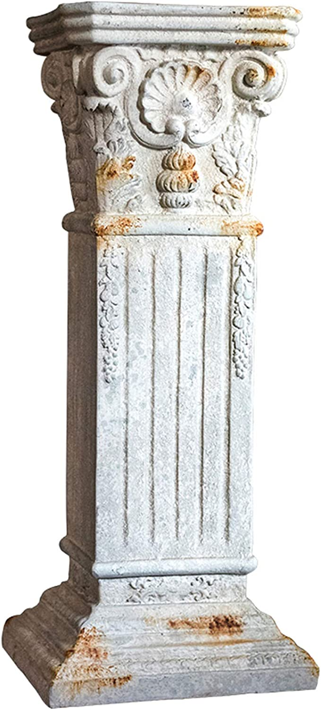 ALX-Dec Roman Pillar Greek Column with Old Rusty, Statue Display Pedestal Stand Figurine Sculpture, Indoor Outdoor Home Garden Decoration