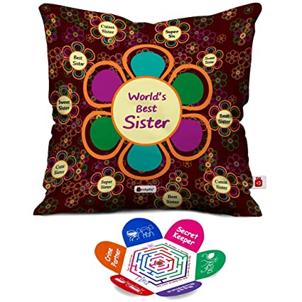 Indigifts Rakhi Gift For Sister Worlds Best Sis Quote Mehroon Cushion Cover 16x16 Inch