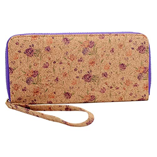 boshiho Unisex corcho tipo cartera con cremallera alrededor de diseño teléfono móvil Monedero de embrague para