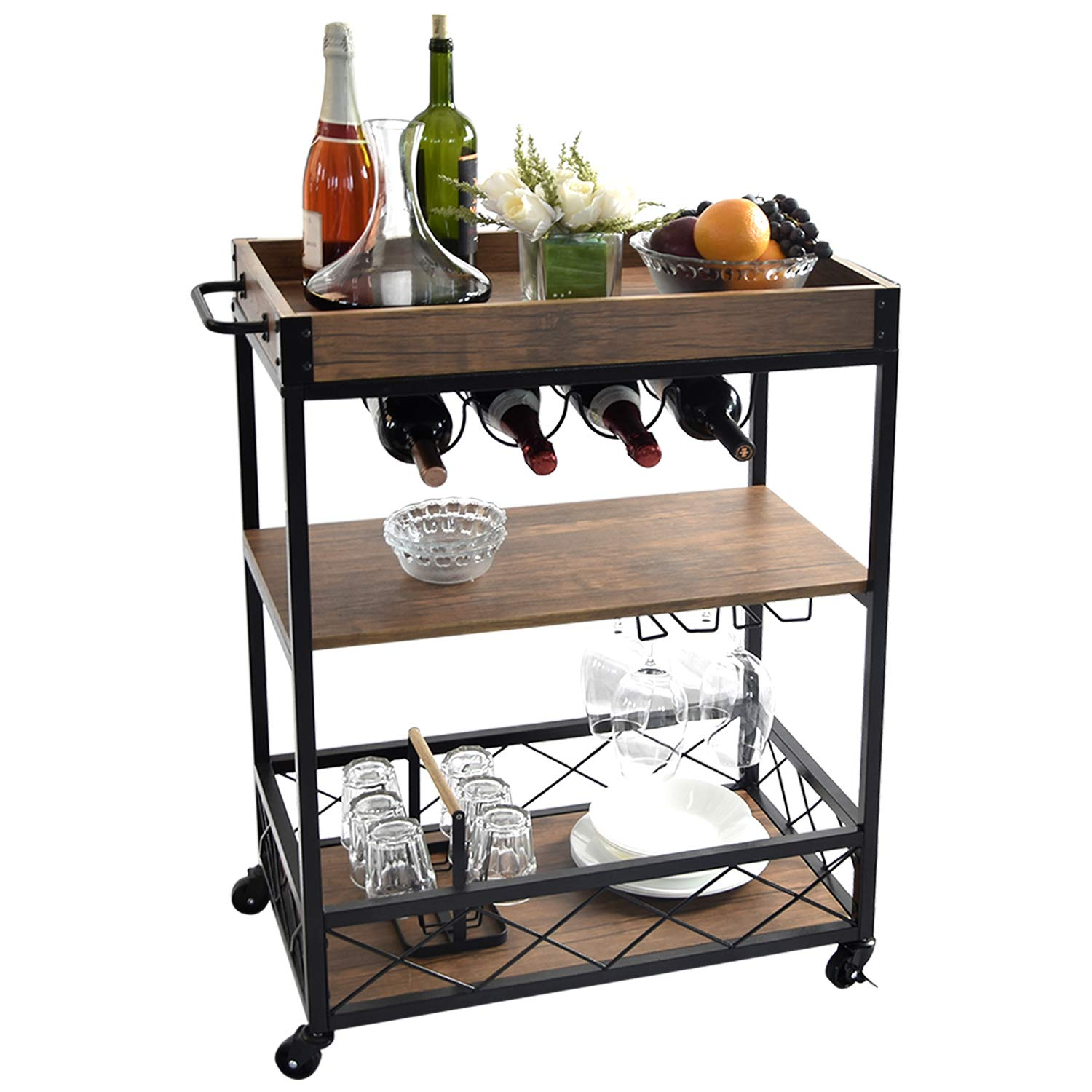 NSdirect Kitchen Bar Cart,Industrial Kitchen Bar Serving Cart Rolling Utility Storage Cart with 3-Tier Shelves,Metal Wine Rack Storage and Glass Bottle Holder,Removable Wood Top Box Container,Brown