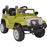 LAZYMOON 12V Jeep Kids Ride On Battery Powered Toy Vehicle Remote Control LED Lights, Green