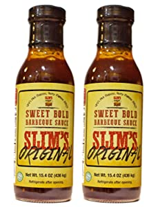 Slim's Original Sweet Bold BBQ Sauce, Full Flavored Barbecue, aka Awesome sauce! Great Barbeque sauce for Smoking, Grilling, Pulled Pork, Pork Belly etc. An Extra-Ordinary Sauce! 15.4oz. Net Wt. X2