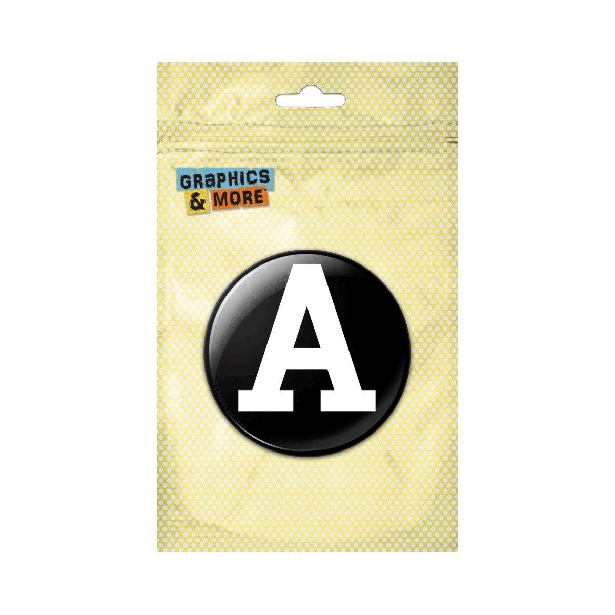 Letter K Initial Black White Pinback Button Pin Badge