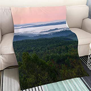 Breathable Flannel Warm Weighted Blanket Morning Norwegian Landscape Perfect for Couch Sofa or Bed Cool Quilt