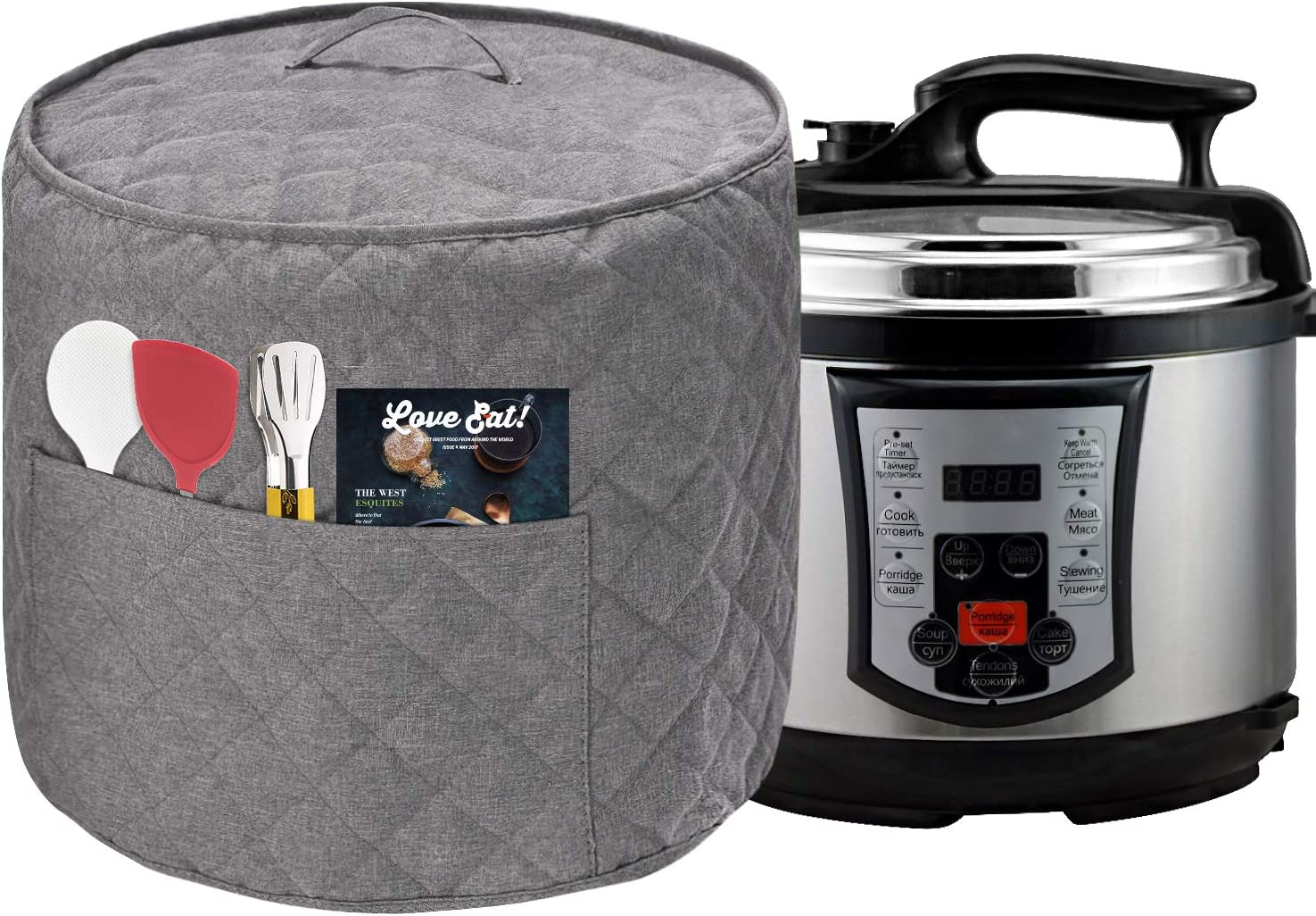 Dust Cover for Instant Pot Pressure Cooker, Cloth Cover with Pockets for Holding Extra Accessories, Waterproof Easy Cleaning,Can Ironable (Light Gray, For 6 Quart Instant Pot)