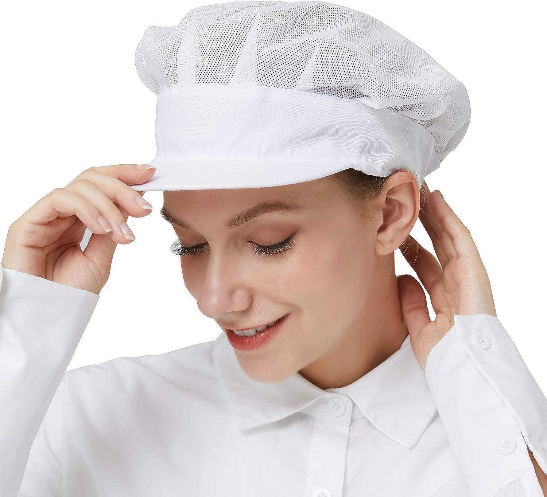 RECECASA 2 Pcs Chef Hats - Mesh Kitchen Chef Caps, Drawstring Hair Nets Food Service, Nurses, Medical Hats with Brim