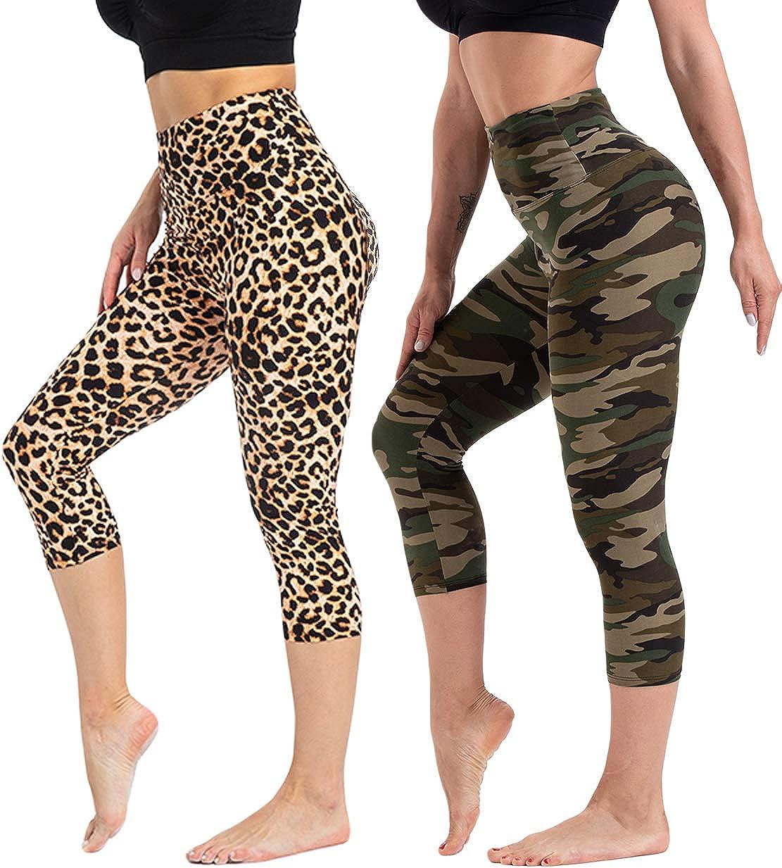 CAMPSNAIL High Waisted Pattern Leggings for Women Soft Tummy Control Printed Legging Capri & Full Length Workout Yoga Pants