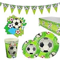 RPARTY Decoraciones Fútbol y Vajilla Papel Fiesta Feliz Cumpleaños para Niños 16 Invitados El Juego de 78 Piezas Incluye…