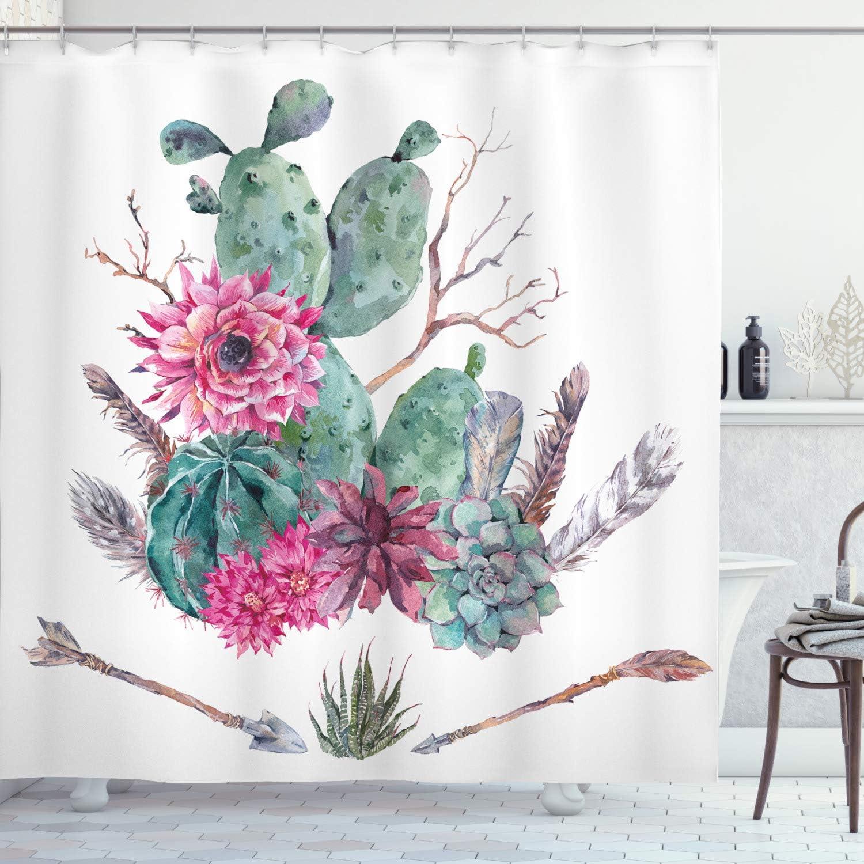 Ambesonne Cactus Shower Curtain, Exotic Natural Vintage Style Watercolor Bouquet Bohemian Arizona Vegetation, Cloth Fabric Bathroom Decor Set with Hooks, 70