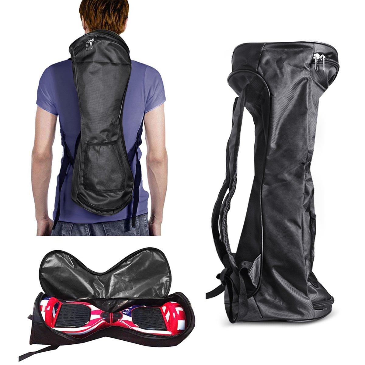 GameXcel Self-Balancing Scooter Carrying Backpack Bag for 6.5'' 7'' and 8'' Two-Wheel Hover Electric Skate Board Smart Balancing Scooters Storage Mesh Pocket Adjustable Shoulder Strap Black
