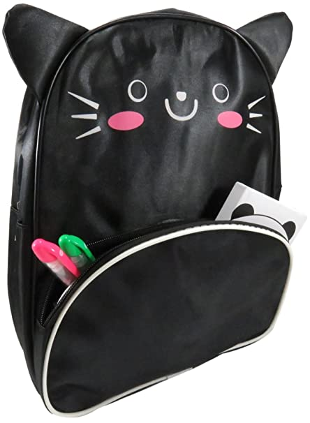 b6b2e1e75f Cute Kitty Cat Ears Backpack School Bag Day Pack Toddlers Kids Black Pink- Meow by Daiso Japan  Amazon.in  Bags