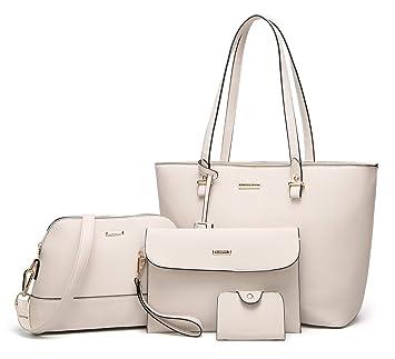 4c3960a9574ad ELIMPAUL Damen Handtaschen Schultertasche Geldbörse Kartenhalter Tasche set  4pc