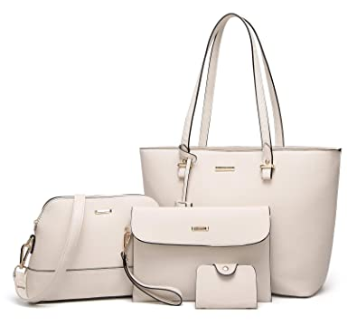 8359d51edcedd4 Amazon.com: ELIMPAUL Women Fashion Handbags Tote Bag Shoulder Bag Top  Handle Satchel Purse Set 4pcs: Shoes