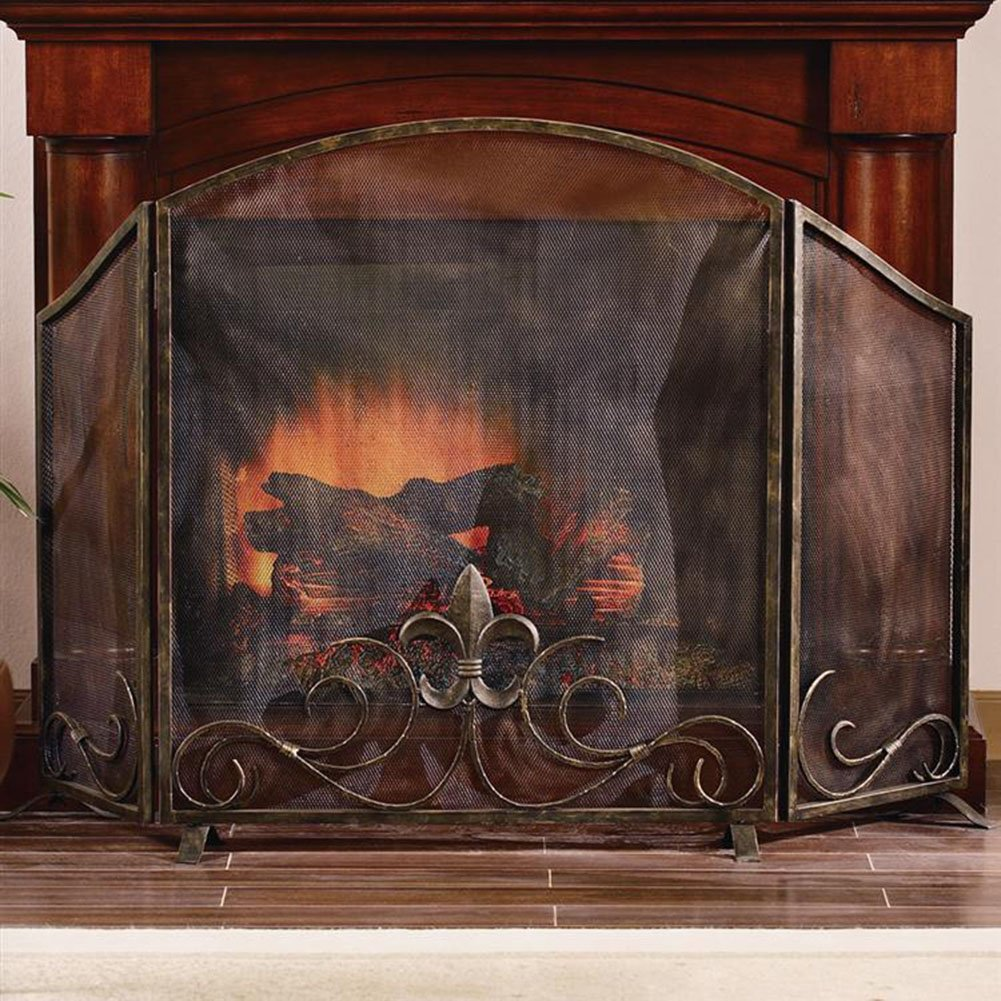 amazon com fleur de lis fireplace screen home u0026 kitchen