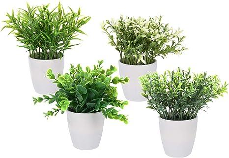 Spetebo Kunstpflanze Im Weissen Blumentopf Klein 4er Set Tisch Deko Pflanze Kunstlich Kunstblume Amazon De Kuche Haushalt