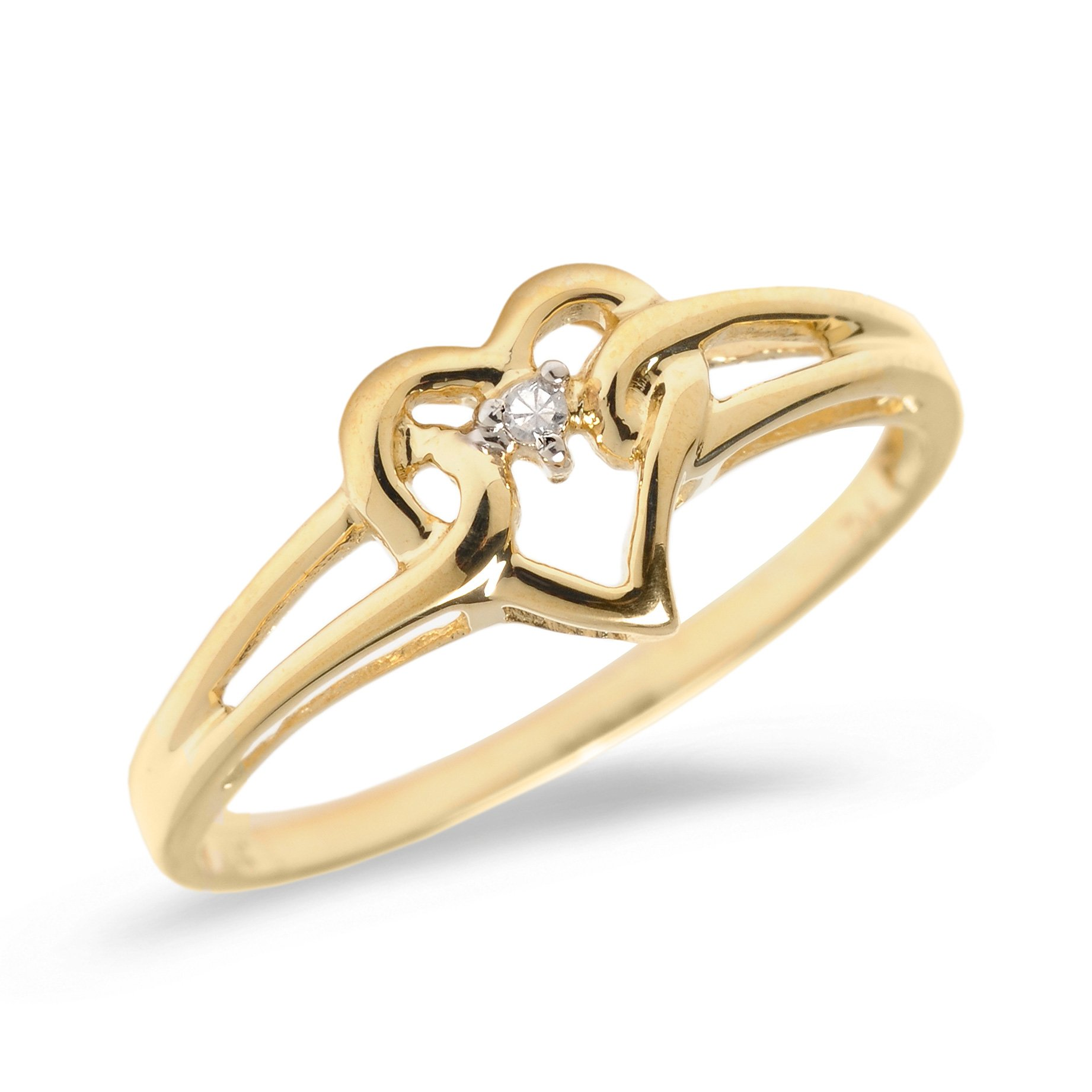 10K Yellow Gold Diamond Heart Ring (Size 7)