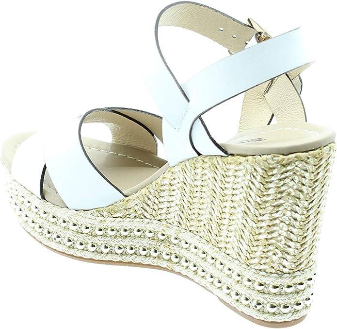 Black Gardens 8341 weiße Tiger Schuhe Damen Sandalen Leder Keilschnalle Seil